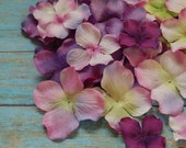 Silk Flowers - 50 Silk Hydrangea Blossoms in Shades of Purple with Pink - Artificial Hydrangea