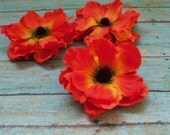 Silk Flowers - Three Fiery Orange Anemones - 3.75 Inches - Artificial Flowers