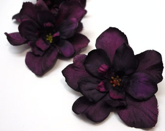 10 Artificial Delphinium Blossoms in Deep Eggplant Purple - SMALLER SIZE - Artificial Flowers, Silk Flowers, Hair Accessories, Flower Crown