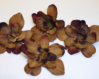 Silk Flowers - Four Delphinium Blossoms in Deep Brown - SMALLER SIZE - Artificial Flowers