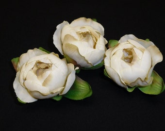 Silk Flowers - Three Silk Ranunculus Buds in Cream - 2 Inches - Artificial Flowers
