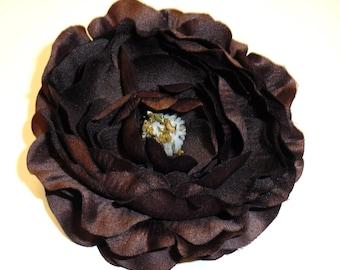 Silk Flower - One Large Ruffle Ranunculus in Dark Chocolate Brown - 4 Inches - Artificial Flower