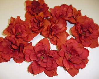 DISCONTINUED COLOR - 10 Delphinium Blossoms in Deep Orange - 3 Inches -Artificial Flowers