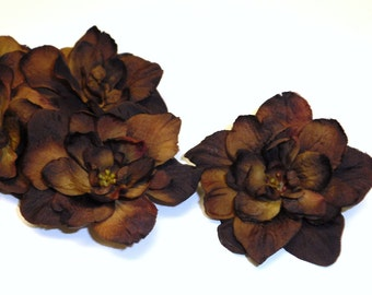 Silk Flowers - Five Delphinium Blossoms in Deep Brown - 3 Inch Size - Artificial Flowers