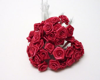 Artificial Flowers - One Lot of 144 Tiny Little Fuchsia Ribbon Roses - VERY SMALL FLOWERS