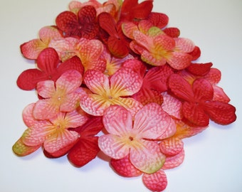 Silk Flowers - 80 Hydrangea Blossoms in  Fuchsia and Pink with Yellow - Artificial Flowers