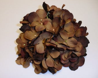 Silk Flowers - One Hydrangea Head in Shades of Golden Brown - Artificial Flowers