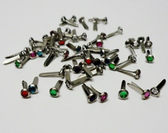 54 Tiny Multi-Color Gem Brads - Very Small Brads for Scrapbooking, Card Making