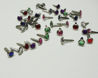 42 Small Multi-Color Gem Brads Flower Centers Scrapbook Embellishments