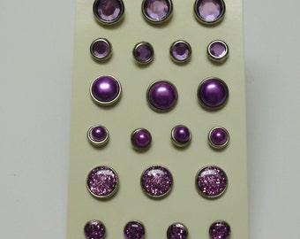 21 Assorted Lavender Brads for Scrapbooking - Embellishments - Flower Centers