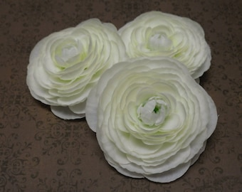 Three Small Silk Ranunculus Flowers in Creamy White - Artificial Flowers
