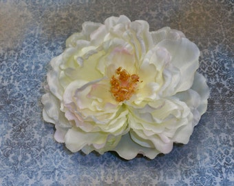 Silk Flowers - One Large Cream Peony Accented with Pale Pink - 5.5 Inches - Artificial Flowers