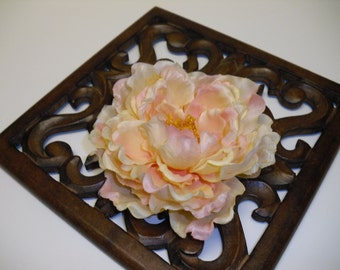 LAST ONE - One Peach Peony Accented with Pale Pink - 5.5 Inches - Artificial Flowers