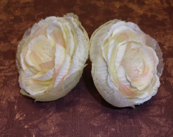 Silk Flowers -Two Cream Ranunculus With Iridescent Layers - Artificial Ranunculus