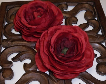 Silk Flowers - Two Jumbo Silk Ranunculus Flowers in Red - 4 Inches - Artificial Flowers