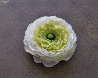 Silk Flowers - One Artificial Ranunculus in White Accented with Yellow Green - Artificial Flowers