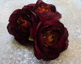 Silk Flowers - Three Artificial Ranunculus Flowers in Eggplant Purple - 3 Inches - Artificial Flowers