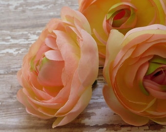 Silk Flowers - THREE Silk Ranunculus Flowers in Peachy Pink - 2.75 - 3 Inches - BUDGET QUALITY Artificial Flowers
