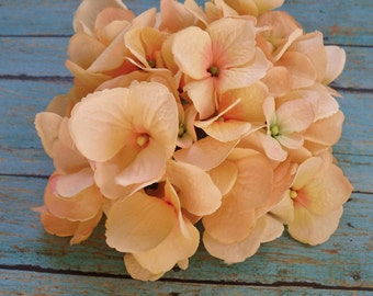 WITH or Without STEM- One Jumbo Hydrangea Head in PEACH -Top Quality - Real Feel Flowers