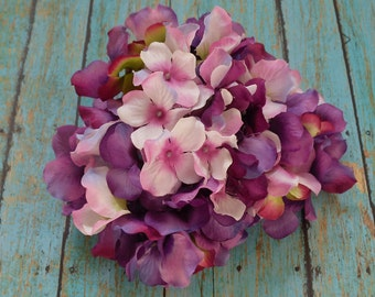 Silk Flowers - One Hydrangea Head in Shades of Purple with Pink - Artificial Hydrangea