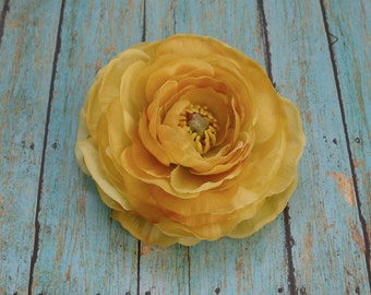 Silk Flower - One Jumbo Yellow Gold Ranunculus - 4.5 Inches - Artificial Flower