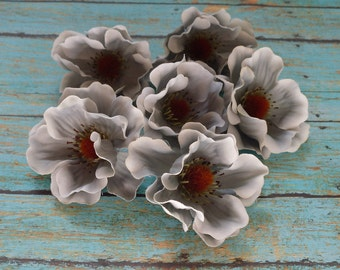 Silk Flowers - SEVEN Artificial Anemones in Shades of Darker Gray - Artificial Flowers