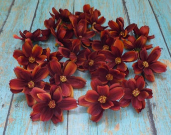 Silk Flowers - 24 Baby Cosmos in Rust Orange - TINY FLOWERS - Artificial Flowers