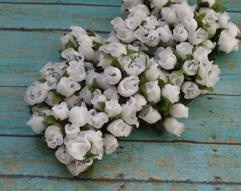 Artificial Flowers - 144 White Poly Dry Rose Bud Flowers - Wedding Decorations, Party Favors, Gift Toppers