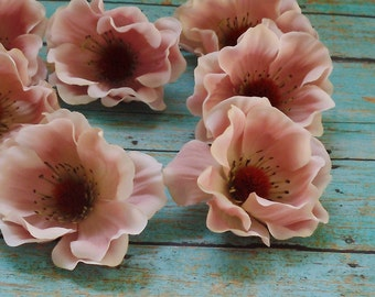 Silk Flowers - SEVEN Artificial Anemones in Dusty Pink - Artificial Flowers