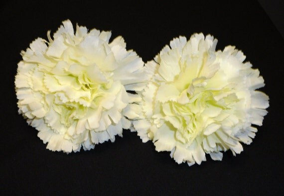 Silk Flowers - Two Jumbo Carnations in Cream - 4 Inches - Artificial Flowers