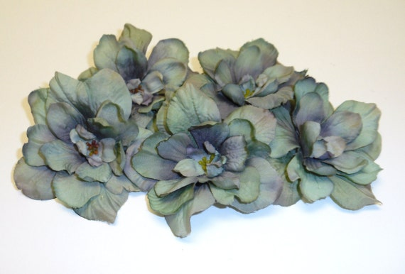 DISCONTINUED ITEM - 5 Delphinium Blossoms in Green With Purple Accents - 3 Inch Size - Artificial Flowers