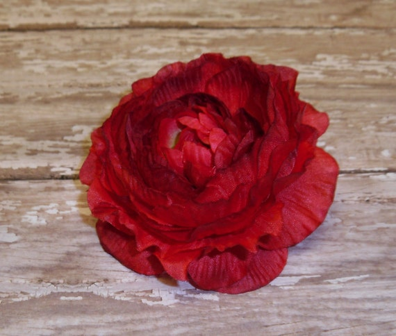 Silk Flower - One Artificial Ruffle Ranunculus in Red - 3.5 Inches - Artificial Flower