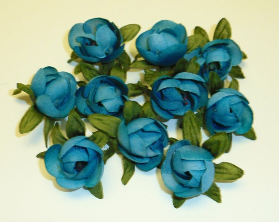 Silk Flowers - 10 Teal Ranunculus Buds - Artificial Flowers
