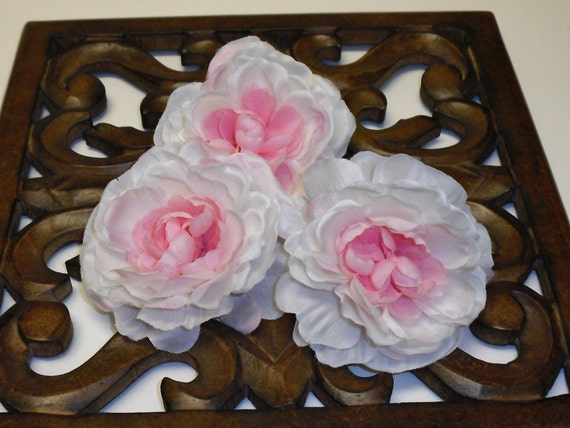 LAST SET - THREE Pink and White Ranunculus - Artificial Flowers