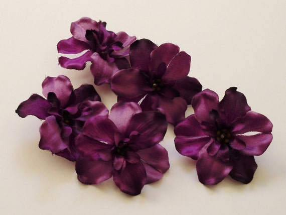 Silk Flowers - Five Delphinium Blossoms in Purple - 2.25 Inches Artificial Flowers
