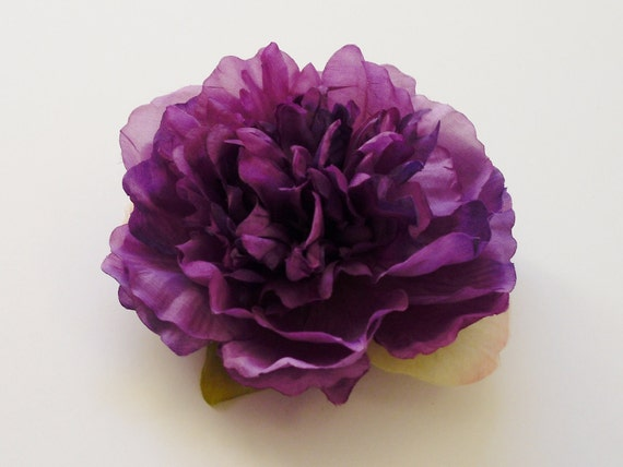 Silk Flowers - One Smaller Size Peony in Purple - 4.5 Inches - Artificial Flower