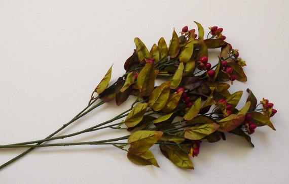 Three Artificial Hypericum Berry Sprays - Hair Acessories - Gift Toppers - Floral Decor- Hypericum Berries