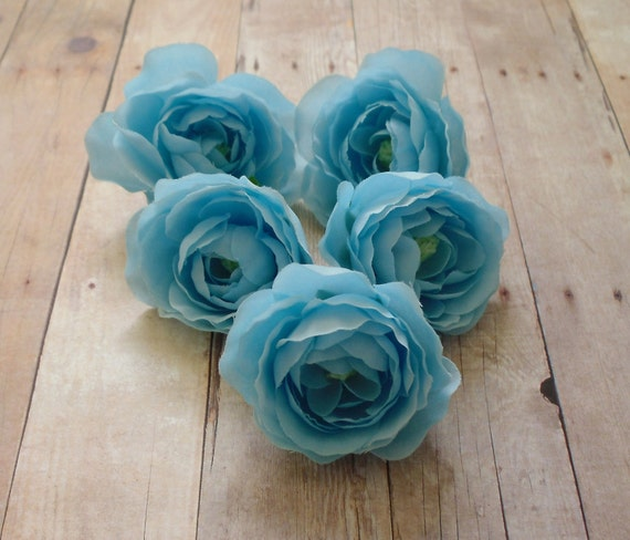 Silk Flowers - Five Silk Ranunculus Flowers in Baby Blue - 2 Inches - Artificial Flowers
