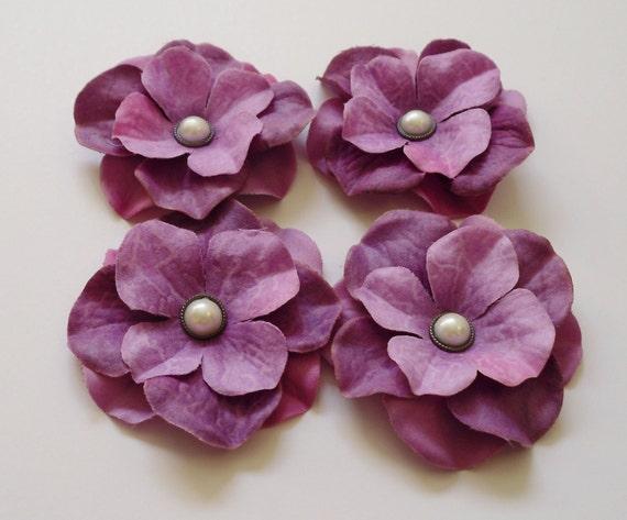 Silk Flowers - FOUR Purple Hydrangea Flowers Embellished with Pearl Brads - Embellished Flowers