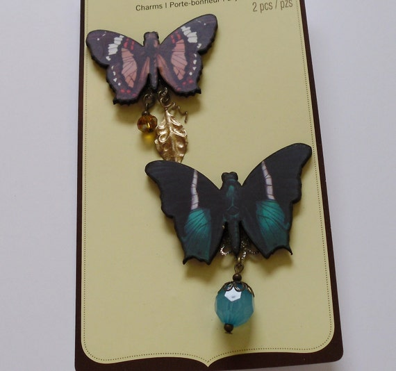 Artificial Butterflies - Two Wooden Butterfly Charms for Scrapbooking, Jewelry Making , Hair Accessories
