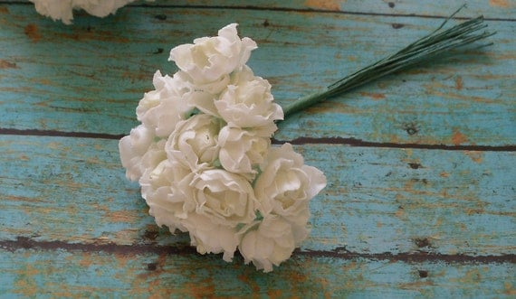 Artificial Flowers - 48 Tiny Little Creamy White Roses - VERY SMALL FLOWERS - Flower Picks