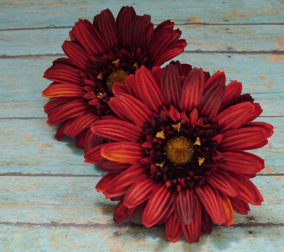 Silk Flowers - Two Striking Jumbo Red Gerber Daisies - 5 Inches - Artificial Flowers