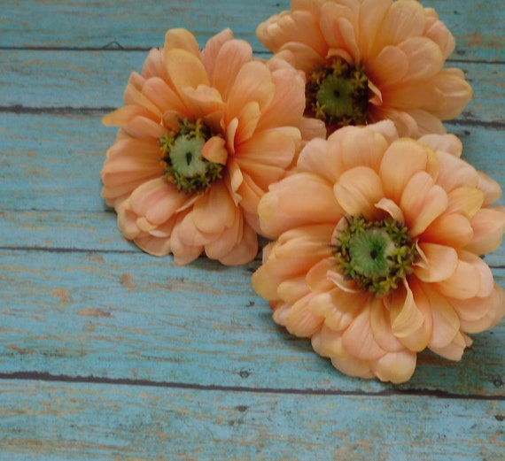 Silk Flowers - Three Large REAL FEEL Zinnias in Peach - 3.75 Inches - Top Quality