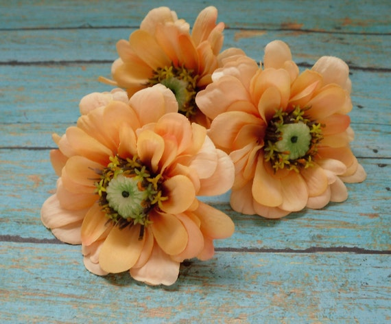 Silk Flowers - Three REAL FEEL Zinnias in Peach - 3 Inches - Top Quality