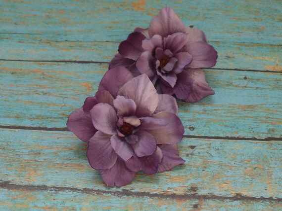 Silk Flowers - Two Delphinium Blossoms in Shades of Purple - 3 Inches - Artificial Flowers