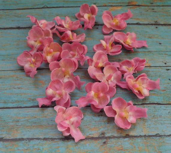 Silk Flowers - 20 SMALL Pink Orchids - 1.5 Inches - Artificial Orchids