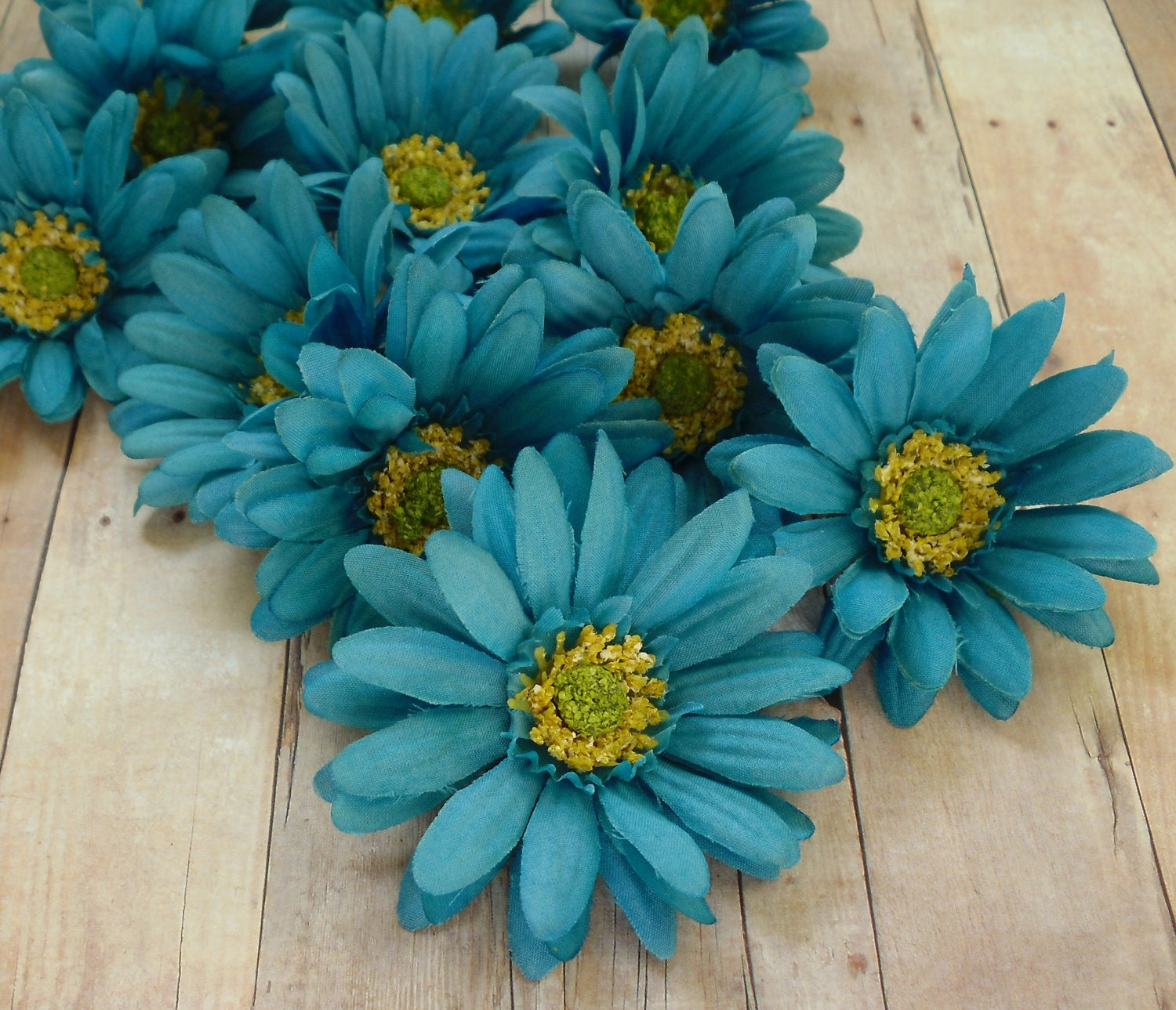 Artificial Daisies Twelve Turquoise Aqua Blue Artificial