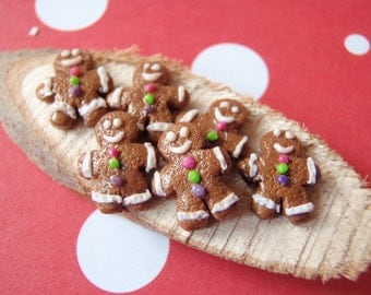 Gingerbread Men - 6 Miniature Gingerbread Lebkuchen Cookies - OOAK 1:12 Scale Miniature - 100% Handmade by Mini Takeouts