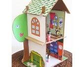 Schoolhouse PDF Paper Printout - Cardboard Dollhouse Pattern SOLD SEPARATELY