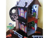 Haunted House Skin PDF - Cardboard Dollhouse Pattern SOLD SEPARATELY   Paper Craft  Printout Halloween Spooky